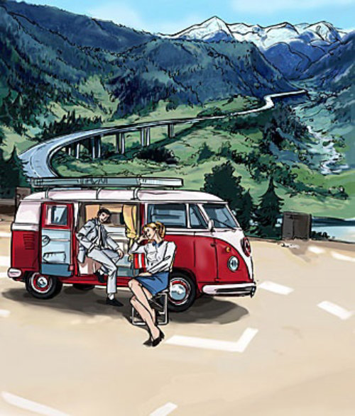 People with van in the parking lot, hills with road, red vehichle