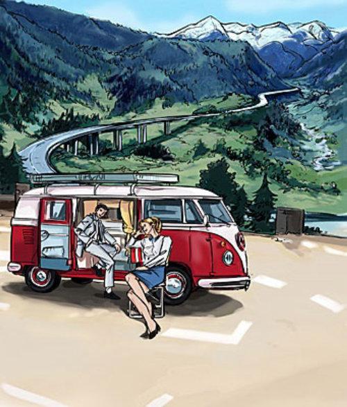 有货车的人在停车场,有路的小山,红色vehichle