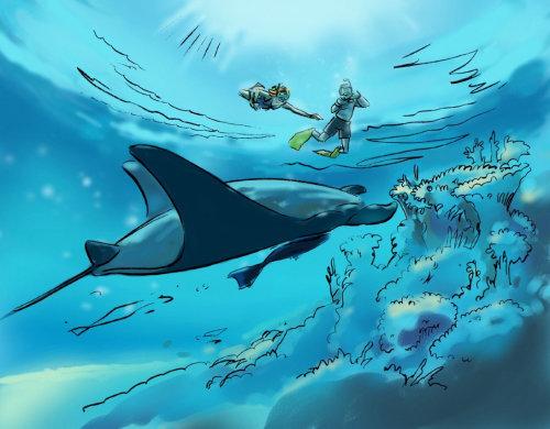 海洋生物,水中的蓝鲸,在海里游泳的人