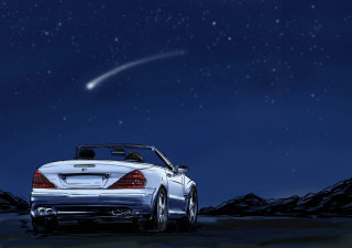 Driving a car in the night, star falling from sky, ray of light on the blue background
