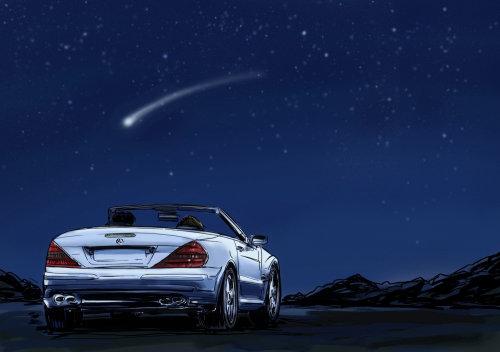 晚上开车,星星从天上掉下来,在蓝色背景上的光线