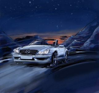 Car travelling at high speed in the night, white vehichle with headlights on, starry sky
