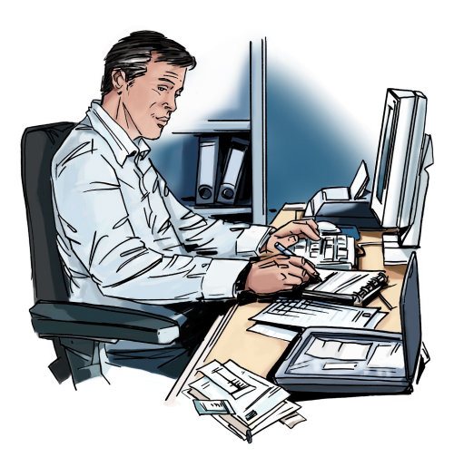 Old man sitting in a chair in front of computer, files in the shelf