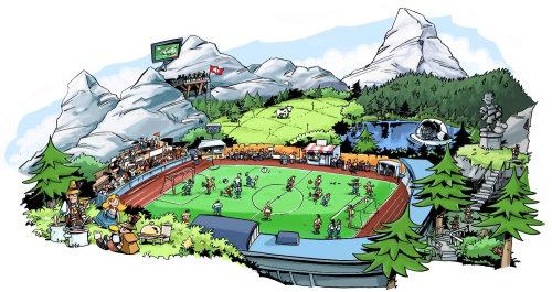 白色的山丘和绿色的田野,人们在玩
