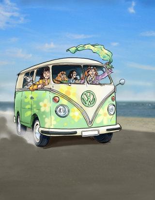 Volkswagen van, people in the vehichle waving cloth, empty road with sea background