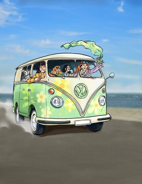 大众面包车,人们在车里挥舞着布,空路与海面背景