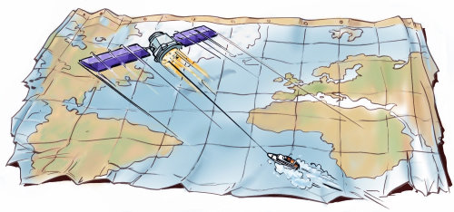 Map with water and land marking, speed boat travelling, satellite on the top