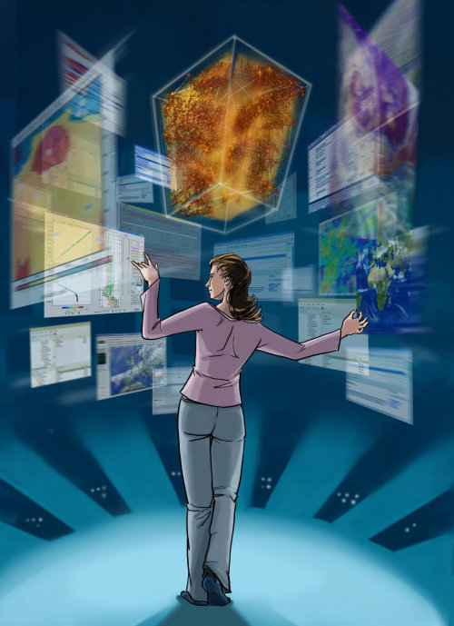 Thomas Andrae- comic illustration, women standing with all the internet applications open,