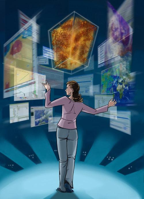 托马斯·安德拉(Thomas Andrae)漫画插图,妇女站在所有互联网应用中,