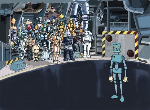 技术行业,一个蓝色机器人分开站立
