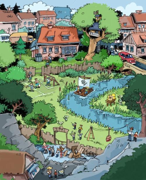 绿色领域的房子,水流和背景中的树木
