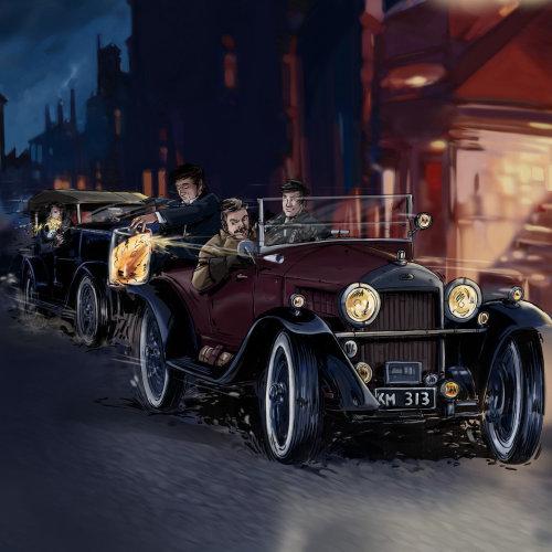 旧模型车在路上行驶,开车的人,在后台建设,