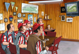 people with striped shirts and red caps sitting in a room, wooden wall in the background