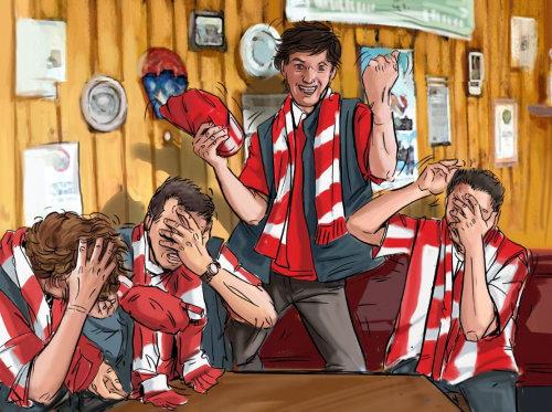人们用手在脸上,背景上的木墙,带有红色条纹披肩站的人