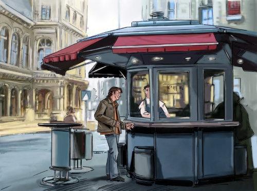男子站在马路上,人们在街上的商店,背景中的建筑物