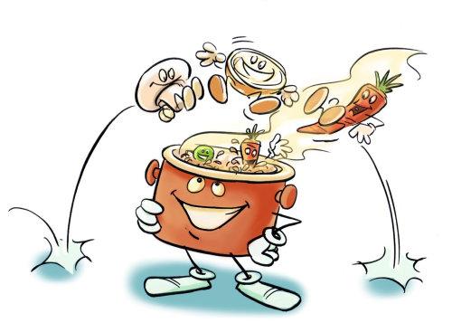 带有笑脸的炊具,将所有蔬菜切成薄片