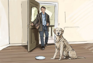 Man coming inside the room with door open, dog sitting with plate in front of it