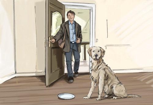 在门打开的房间里进来的人,狗坐在它前面的盘子