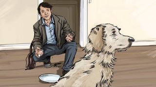 Man sitting in front of do, Dog turning back at the owner, Food in the plate