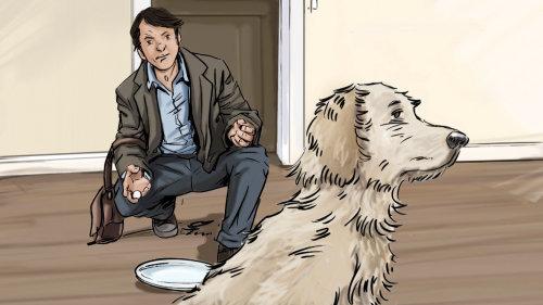 坐在前面的人做,狗向主人回头,盘子里的食物