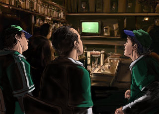 people standing and watching TV, green dress man standing in the room