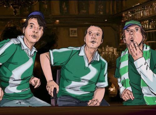 两个人坐在椅子上,看起来直的人,绿色的裙子与白色衬里