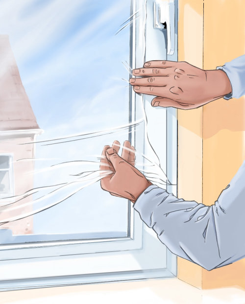 Sealing a window with cover, yellow wall, hands on the glass, building in backgroud