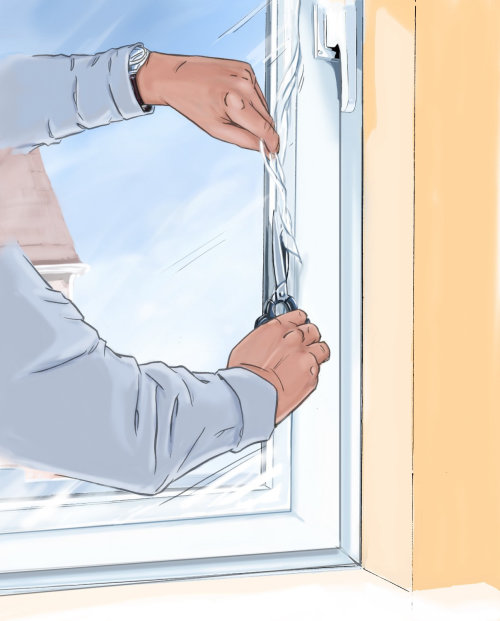 Sealing a window with cover, yellow wall, hands on the glass