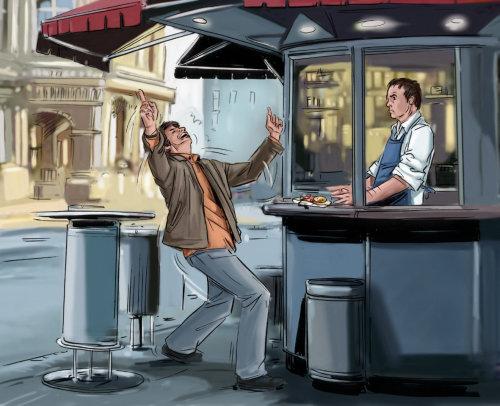 男子在马路上跳舞,店主看着男孩