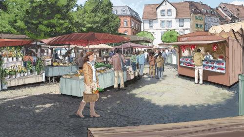 市场街,到处都是建筑物,马路上的商店,手里拿着篮子走着的妇女