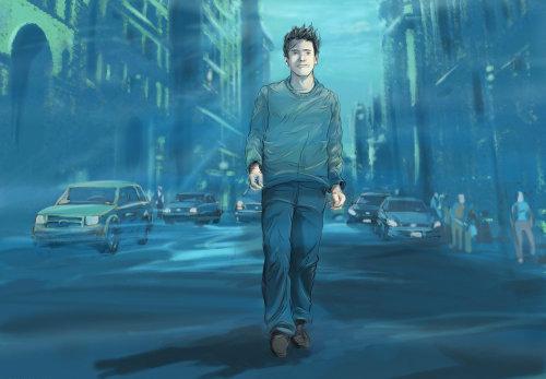 男人独自一人走在夜里,男孩与牛仔裤和t恤走在路上,汽车移动