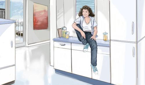 女孩坐在厨房的桌子上,墙上的风景,房间里的杂货,