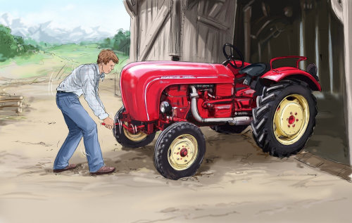 Man in front of a red tractor, big and small wheels to the tracktor,