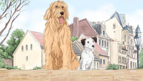 金毛和一只小狗的例证