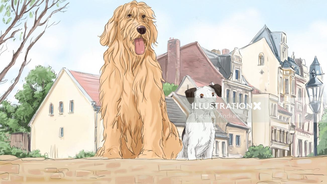 illustration of golden retriever and a small dog