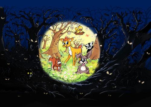 黑暗中的丛林,树下的动物,图像中突出显示的明亮圆圈