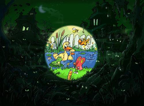 黑暗中的丛林,池塘中的鸭子,明亮的圆圈突出了图像中的鸟类
