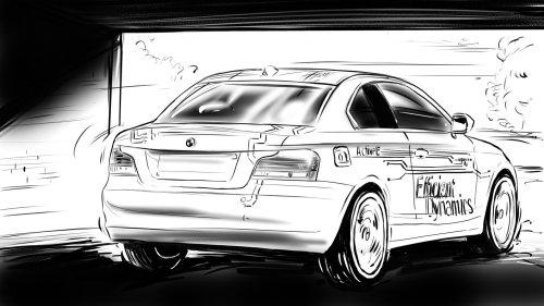 Thomas Andrae- painting illustration, white car in the shd, black wheels