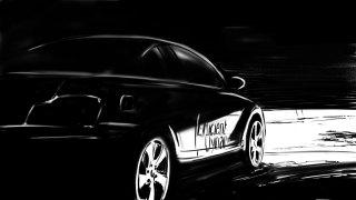 Thomas Andrae- Animation illustration, Black car moving, pitch dark around