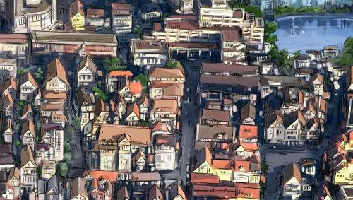 城市街道到处都是建筑物,天空景观,大街上的人