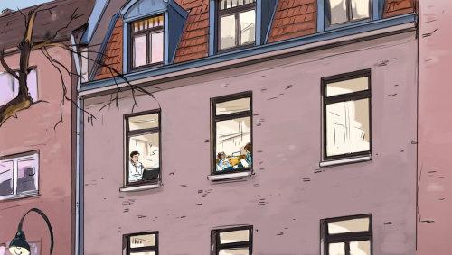 带窗户的公寓楼,大楼内的人