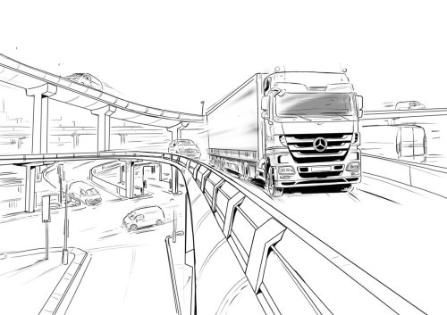 Line drawing of heavy truck on fly over