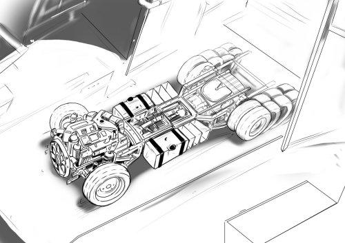 从顶视图看带有轮子的汽车,周围有四个轮子,车辆的线条图