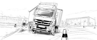 Truck on the road, safety bars on the highway, Mercedes symbol on the vechichle