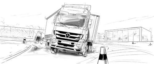 卡车在路上,高速公路上的安全栏,vechichle上的梅赛德斯符号