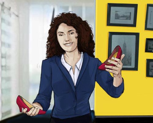 妇女在手中站立与红色鞋子,公司女孩站立与兴高采烈的面孔,黄色墙壁