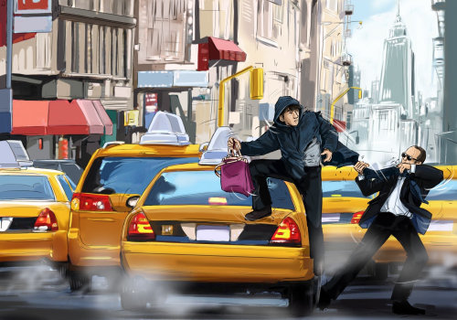 黑色套头衫,在出租车上移动的人