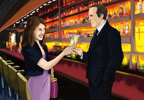 男人从一个女孩,酒吧里的人,聚会时间喝一杯