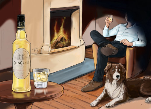 man sitting on a chair near fire, dog sitting on the ground, alcohol on the table