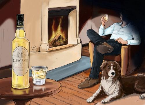 人坐在火旁的椅子上,狗坐在地上,桌上的酒精